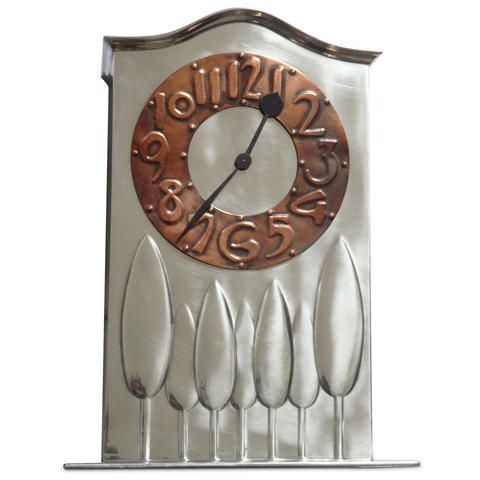 Arts & Crafts Tudric pewter and copper clock attributed to CFA Voysey