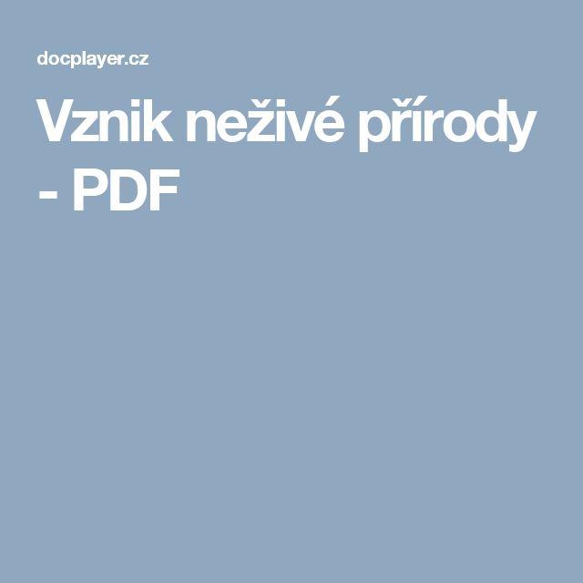 Vznik neživé přírody - PDF