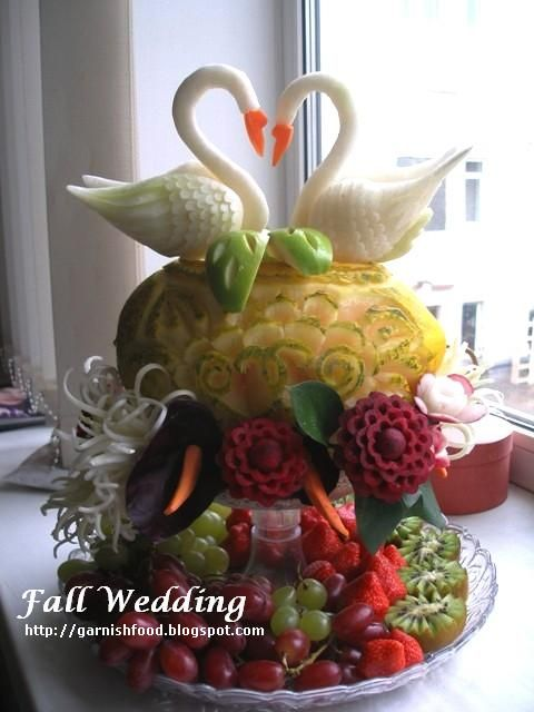 Carved Fruit Centerpieces | Fruit Carving Arrangements and Food Garnishes: Fall Wedding ...