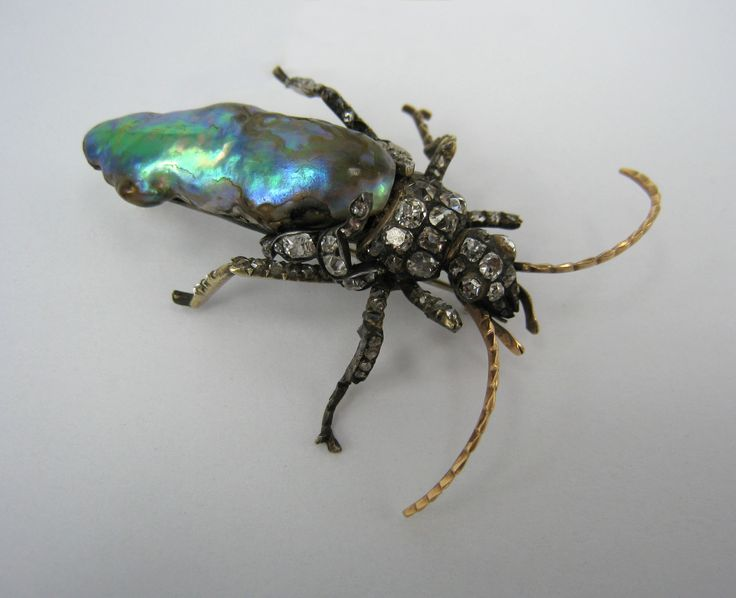 1850's Diamond Natural Abalone Pearl Beetle Brooch