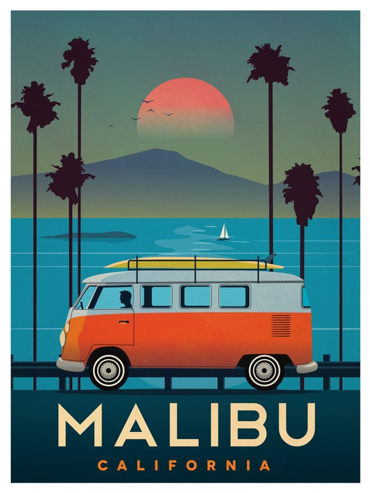 Vintage Malibu travel Poster - complete with a classic VW van and surf board on top