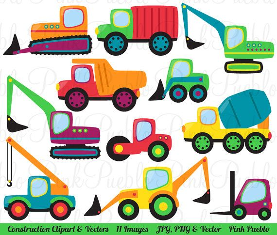 Construction Transportation Clipart Clip Art Vectors, Great for Kids Birthday Party Invitations - Commercial and Personal Use