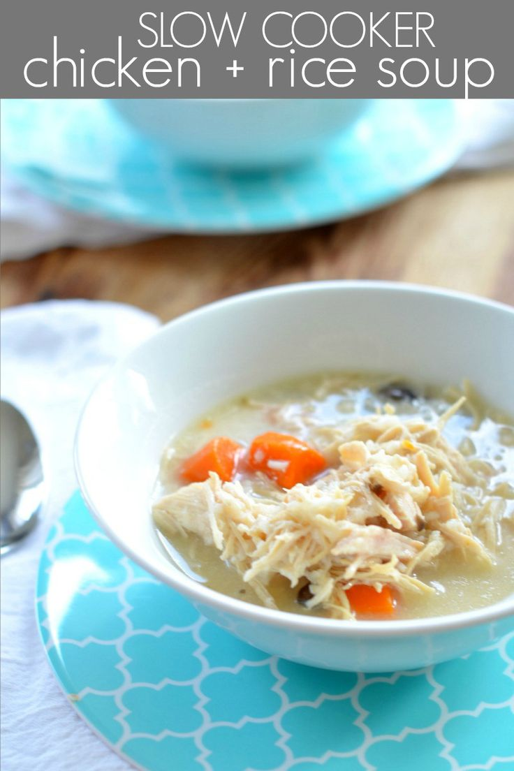 Crockpot Chicken and Rice Soup Recipe. Soul-warming comfort food perfect for dinner on cold nights and rainy days! The whole family will love this healthy easy recipe! Clickthrough for this recipe and more dinner ideas!