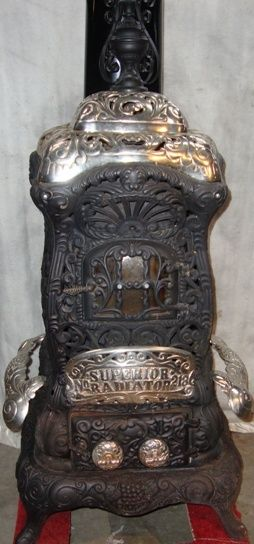 ANTIQUE 1890s ORNATE RARE CAST IRON PARLOR STOVE by