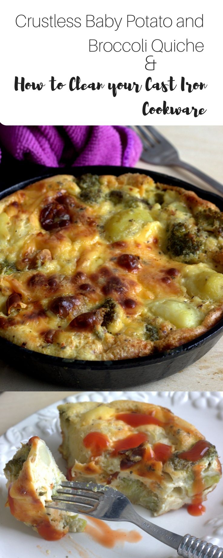Crustless Quiche made with baby potatoes and broccoli in a creamy, garlicky…