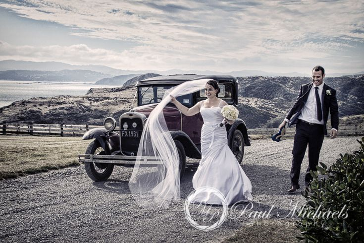 Bride and groom arrive at Pencarrow wedding venue. Wellington weddings by PaulMichaels photography http://www.paulmichaels.co.nz/bede-dawn-wedding/