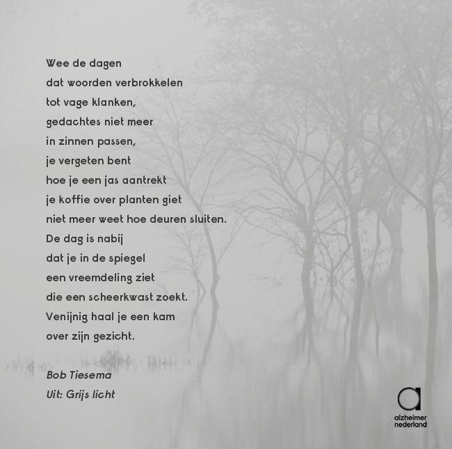 Treffend gedicht uit de dichtbundel 'Grijs Licht' van Bob Tiesema. Een deel van de opbrengst van dit boek gaat naar Alzheimer Nederland: http://inactievooralzheimer.nl/grijslicht