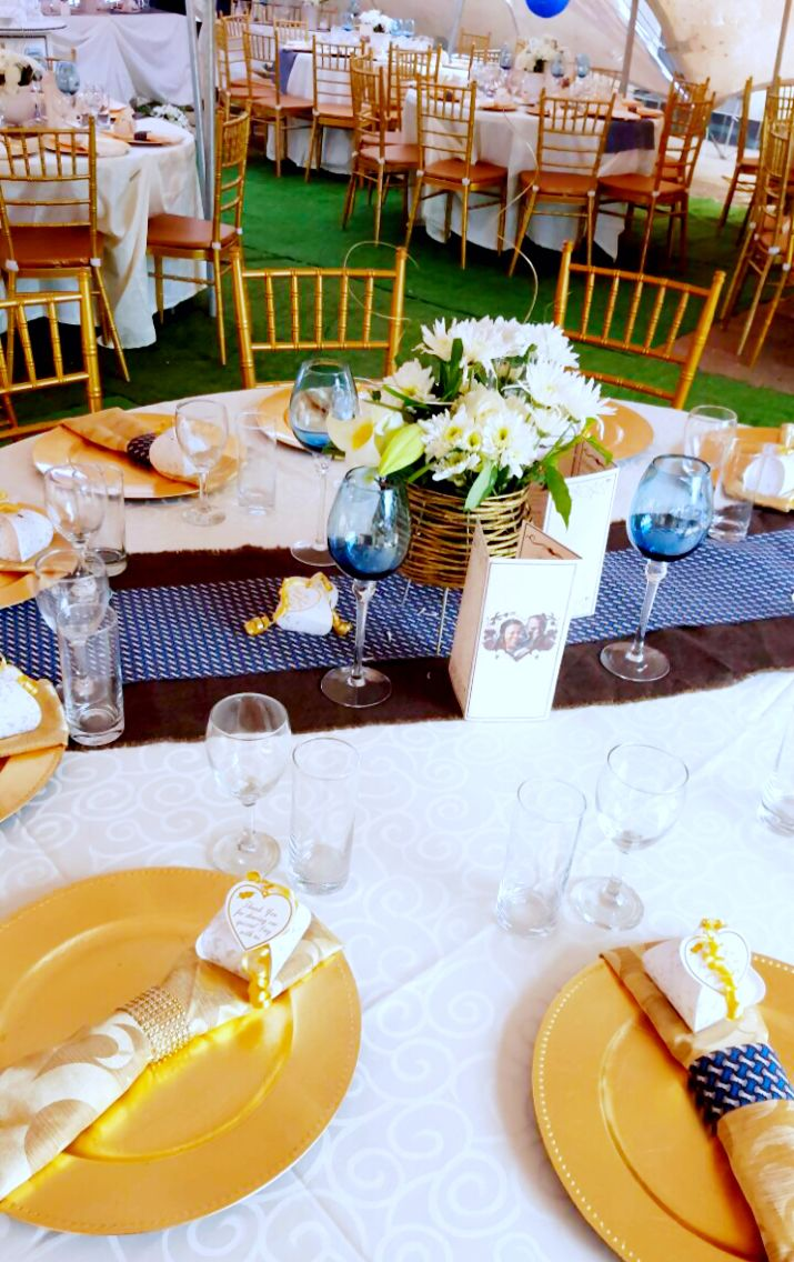 Gold and Royal blue traditional wedding decor at Shonga Events