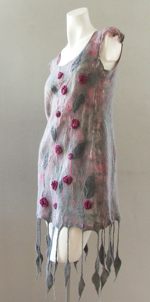 Beautiful Roses Nuno felted dress OOAK hand by myfeltboutique1, $270.00