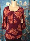 ❦♯ ST JOHN'S BAY S NEW  CASUAL BURGUNDY PAISLEY BUTTON NECK COTTON 3/4 #SLEEVE TOP http://ebay.to/2dV8zwS