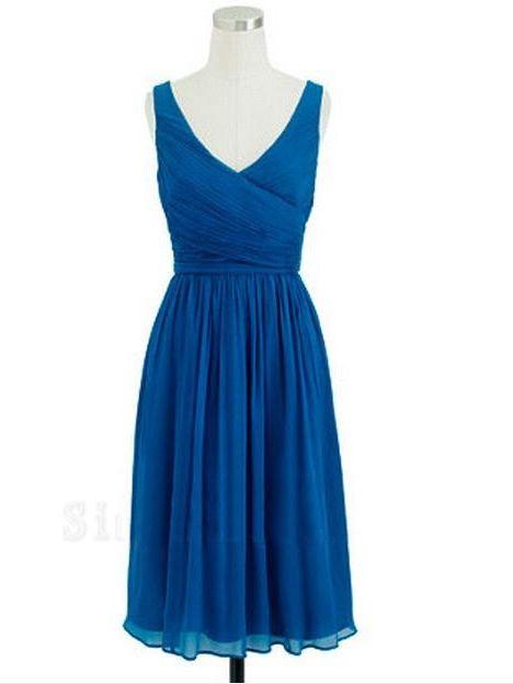 Royal Blue Bridesmaid Dresses,Knee Length Bridesmaid Gown,Summer Bridesmaid