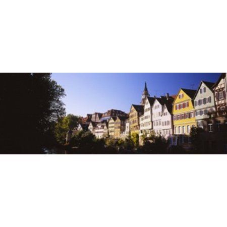 Row Of Houses In A City Tuebingen Baden-Wurttemberg Germany Canvas Art - Panoramic Images (36 x 13)
