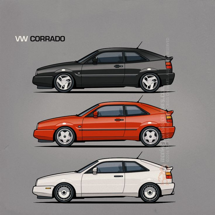 VW Corrado Trio – #Volkswagen #VW #VDub Illustration/Artwork by Tom Mayer, Monkey Crisis On Mars ©2016 – All Rights Reserved