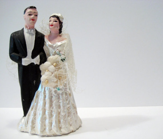 Vintage  Bride and Groom  40s Wedding Cake Topper from VintageBoxFashions. $50.00, via Etsy.