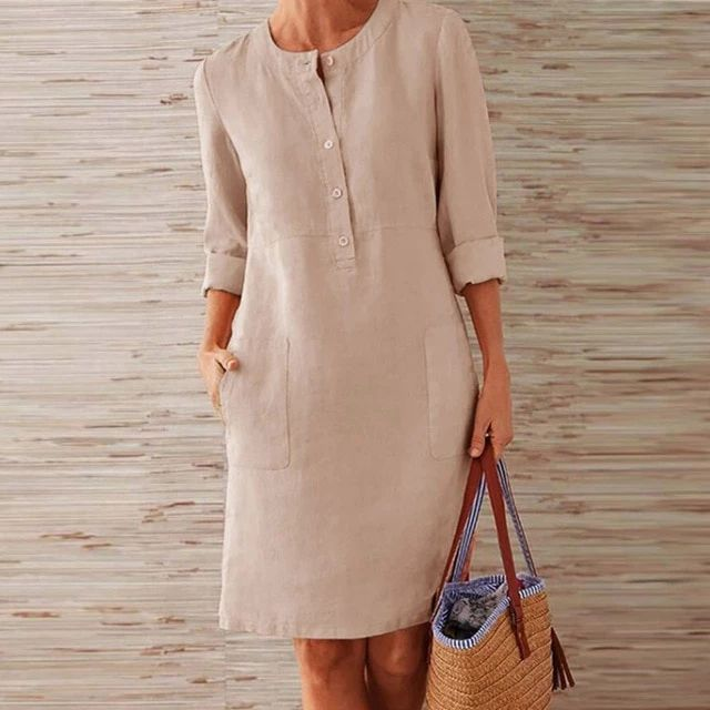 Autumn Cotton Linen Button O-Neck Knee Long Sleeve Pocket Solid Plus Size Party Dress