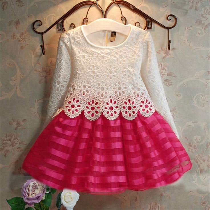 New 2016 Girls Dresses Fashion Casual Summer Lace crochet Tutu Dress Kids Girl…