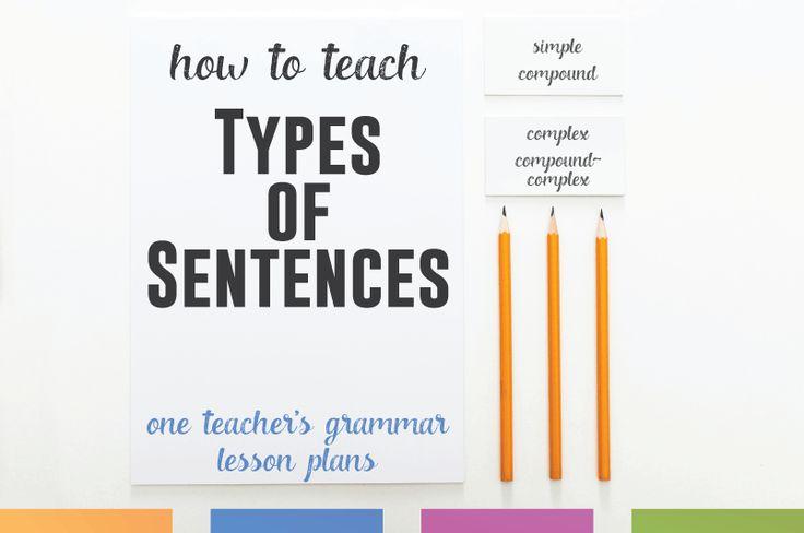 Grammar lesson plans: how to teach types of sentences (simple, compound, complex, compound-complex).