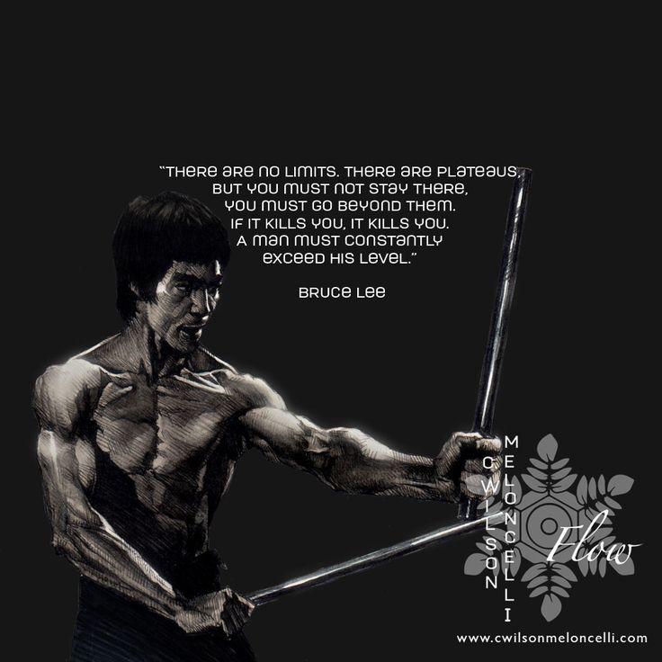 """A quote from Bruce Lee """"There are no limits. There are plateaus, but you must not stay there, you must go beyond them. If it kills you, it kills you. A man must constantly exceed his level."""""""