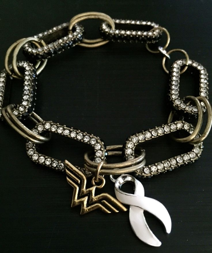 White Ribbon Wonder Woman Bracelet / Lung Cancer Awareness Survivor / Emphysema / Mesothelioma Patient / Chemotherapy gift by RockYourCauseJewelry on Etsy
