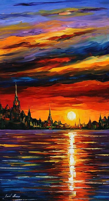 """Morning Sky"" - by Leonid Afremov, nice paintings from http://www.paintingsframe.com/Leonid+Afremov-painting-c38.html"