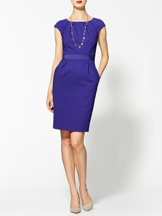 Royal Purple Clic Short Sleeve Knee Length Dress Crest Ponte