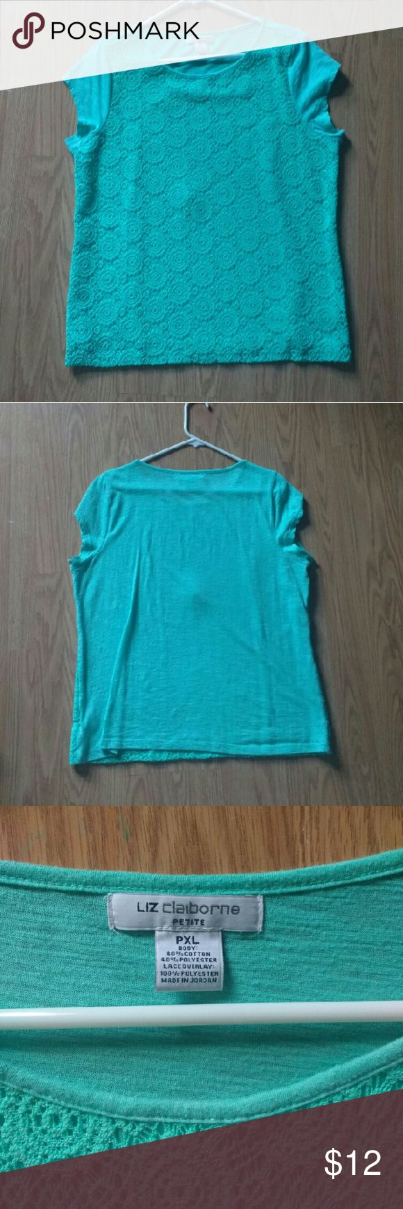 Mint green shirt Beautiful super comfortable mint green top. Plain on the back with a crochet like overlay on the front. Only worn once since it's to big for me. Liz Claiborne Tops Tees - Short Sleeve