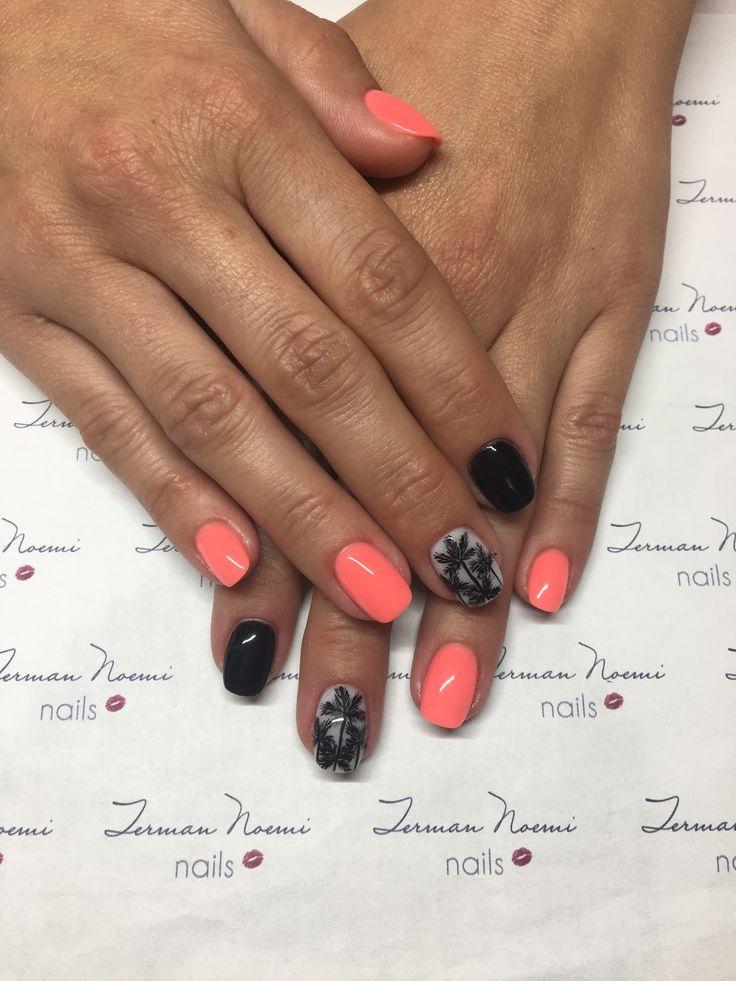 Summer nails, palmtree nails, coral nails, black nails, love nails! ❤️