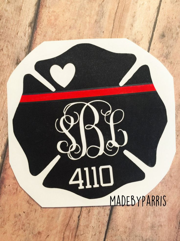 Firefighter Wife Monogram with Badge Number Vinyl Decal, Maltese Cross, Fire Wife Decal, Car Decal, Yeti Decal, Monogram Decal, Firefighter by MadeByParris on Etsy
