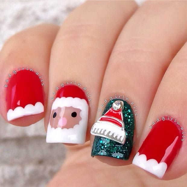 Santa Claus Manicure for Christmas