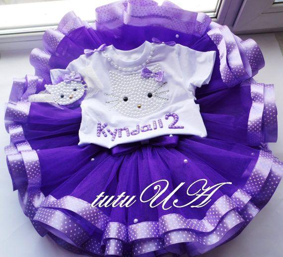 Purple Hello Kitty 1st Birthday Tutu Personalized Little Girl
