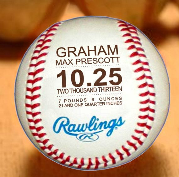 Personalized Baseball Birth Announcement, Baby Boys Gift, Engraved Baseball Custom Baseball, Sports Nursery Typography, Monogrammed Baseball...