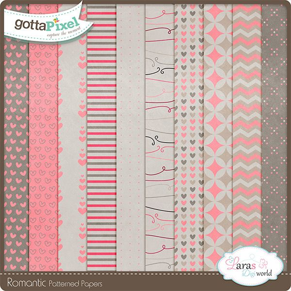 Romantic Patterned Papers by Lara's Digi World
