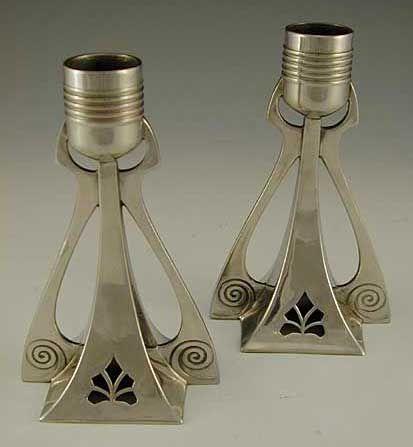 WMF Polished Pewter Art Nouveau Candlesticks