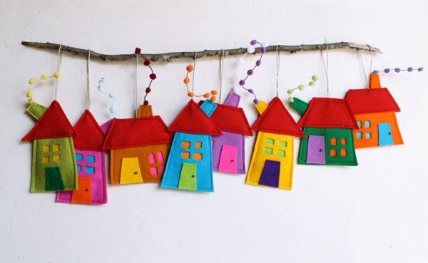 Deko Kinderzimmer Deko Ideen filz häuschen dekorativ bunt