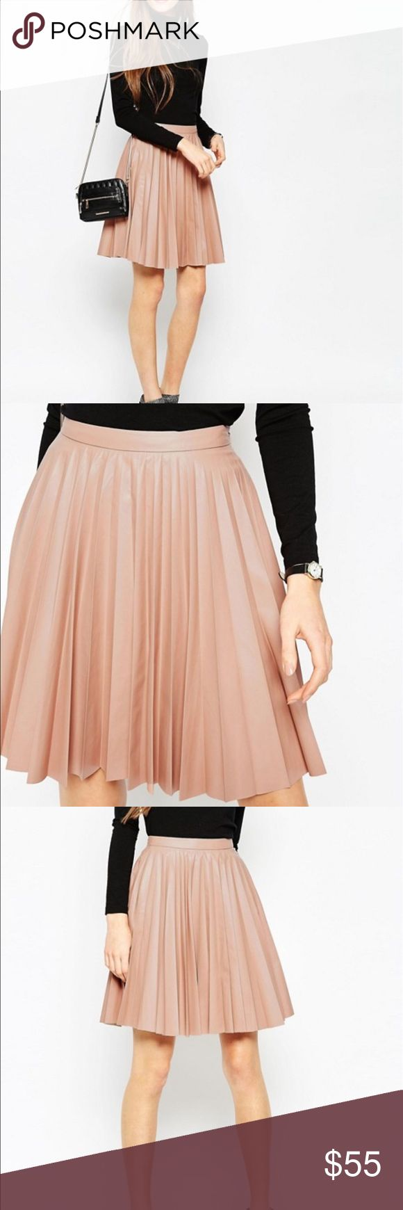 ASOS Leather Look Skirt Pleated leather look skirt in nude, size 10. Perfect for spring! Please see pics for details or message me.   🚫 No Returns  🚫 No Refunds  🚫 No Exchanges  🚫 No Trades please.   💸 Bundle and Save 💸  Happy Shopping! 🛒 ASOS Skirts