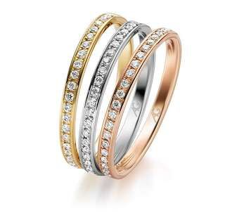 Rings in 3 tones - Yellow, Rose & White Gold set with diamonds