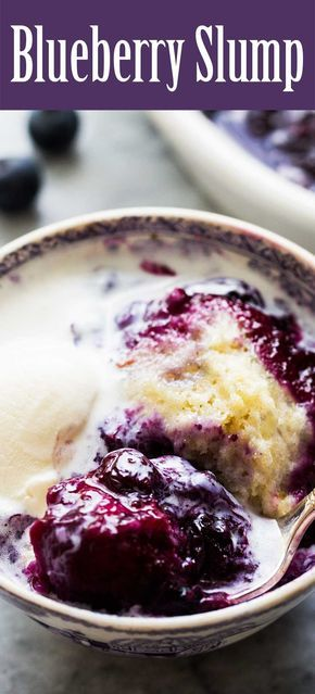 Blueberry Slump! Classic New England dessert, made on the stovetop with blueberries and steamed dumplings. Great way to beat the heat!