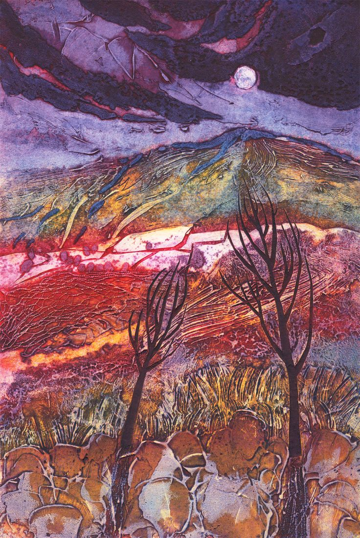 Moon Rising: Winter Trees, collagraph by janine denby, colour variation 1