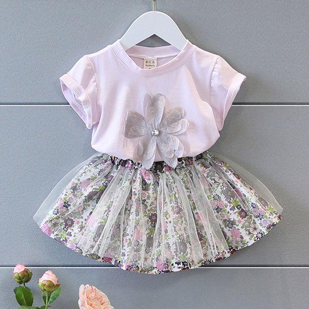 Детская одежда женский короткая юбка из двух частей набор 2017 новый маленькие дети летнее платье дамы дикие цветы цветочный синий T-рубашка костюм-Таобао глобальной вокзала