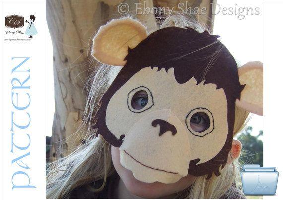Child's Monkey Mask PATTERN PDF. One size fits most.  by EbonyShae, $4.50