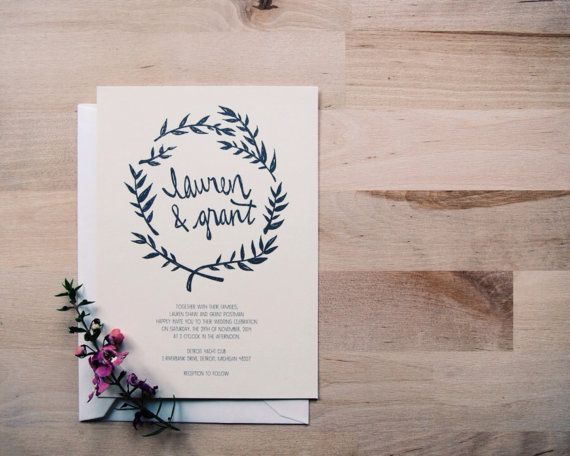 rustic kraft white or ivory // floral leafy wedding invitation sample // the seattle // black hand drawn wreath on Etsy, $5.02 AUD