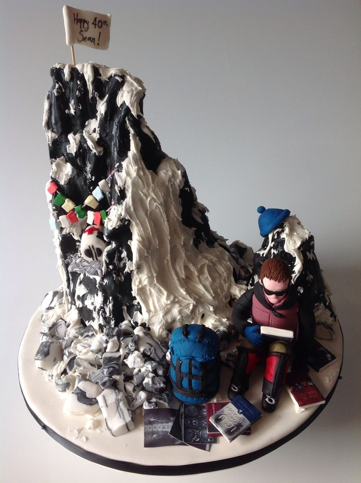Mountaineering radiologist cake made for a friend who literally forgot he had heavy radiology textbooks in the bottom of his pack when he hiked to Mt Everest base camp.