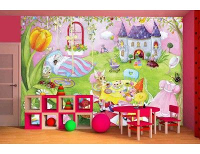 """""""Mia's World"""". A wallpaper mural from Muralunique.com. This is an original painting from Johanne Pépin. https://www.muralunique.com/mias-world-105-x-8-320m-x-244m.html"""