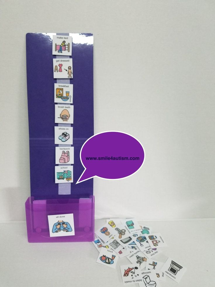 PURPLE  HOME Visual Schedules Support Kit w/30 PECS ADD, Aprexia, Autism Spectrum