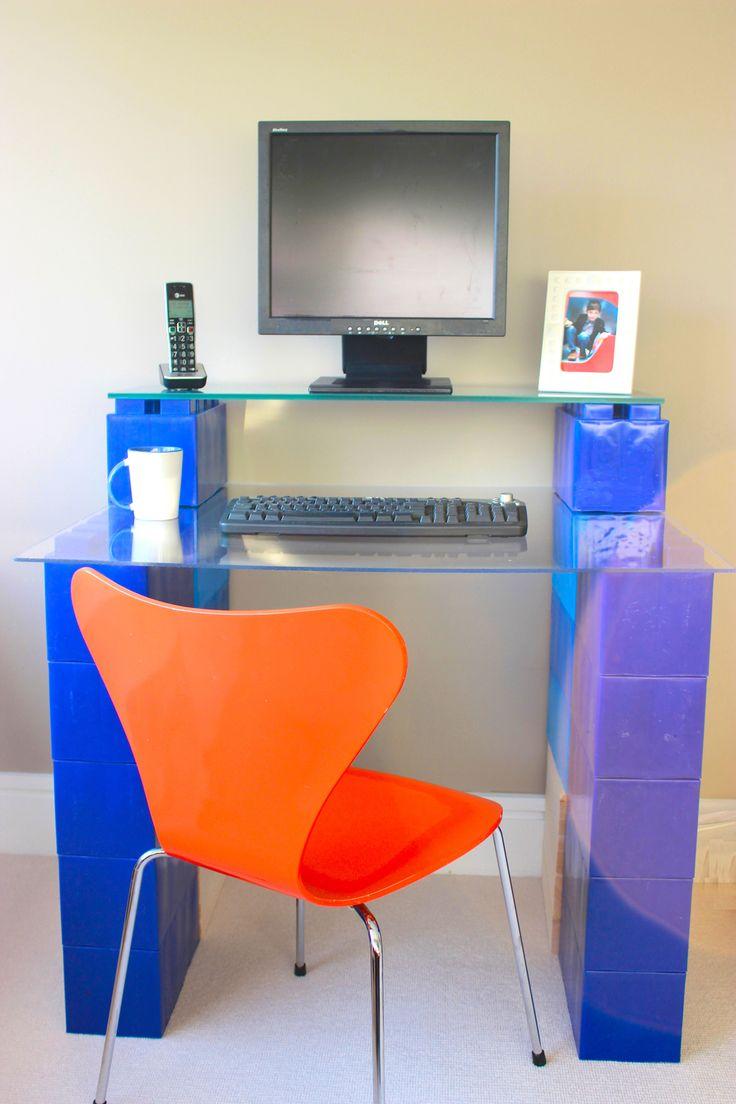 Modular desk made with EverBlock.