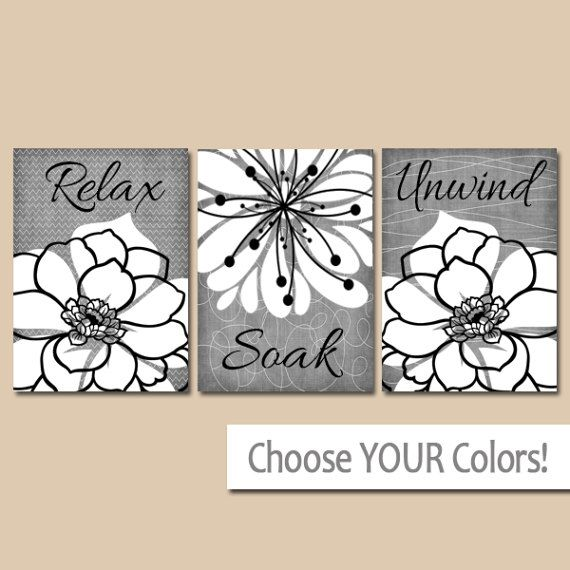 Gray Bathroom Wall Art Canvas Or Prints Relax Soak By Trmdesign