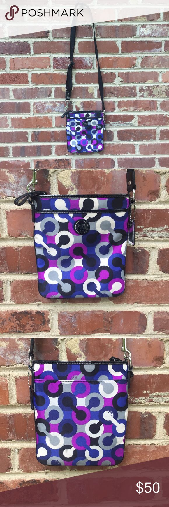 Coach Purple Crossbody Signature Bag Handbag Size 8 x 7. Excellent condition with a few faint surface marks (enlarge photos to see; they are faint so they don't show up well). Strap is removable. Coach Bags Crossbody Bags