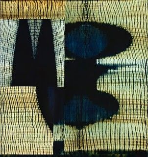 Lynette Haggard Art Blog: Frank Connet: All of the textile pieces (below) are indigo and walnut dyes on wool, using Japanese shaped resist dyeing. The fabric is then cut and pieced and mounted on stretchers.