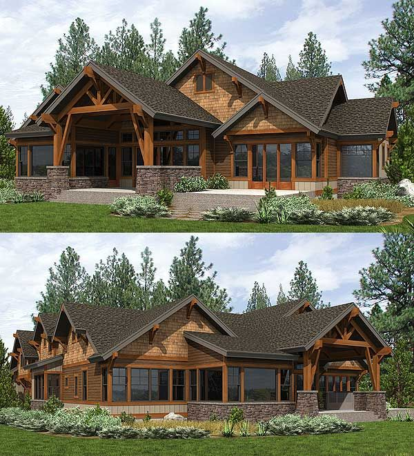 Charmant Covered Outdoor Living Room In Back Of Architectural Designs Mountain House  Plan 23610JD. Ready When