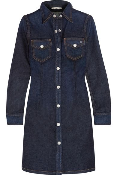 """Alexa Chung For AG Jeans' best-selling 'Pixie' dress has been reworked for the new collection in a darker wash. Shaped through the waist for a flattering silhouette, it's punctuated with embossed buttons and saffron stitching. NET-A-PORTER Buyer Octavia Bradford suggests wearing it with """"tights and ankle boots to take the style from a summer favorite to the perfect winter day dress."""" Get the look at NET-A-PORTER"""